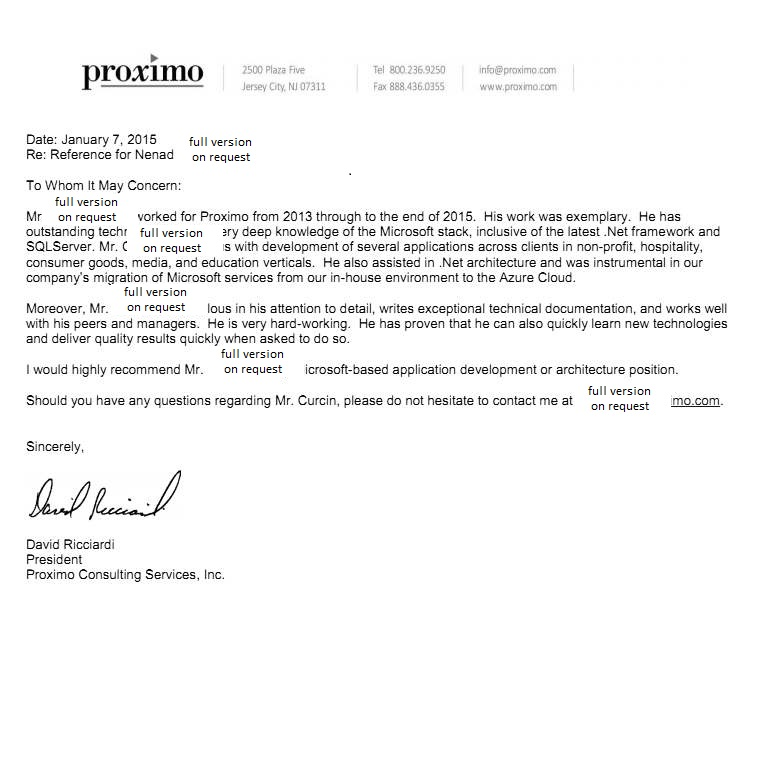 Recommendation Letter From Proximo